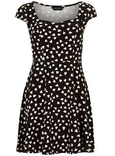 For the Bird Print, this is the Dorothy Perkins black heart sweetheart dress