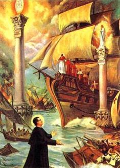 the famous dream St. John Bosco had about a Pope that will lead the Church to the two columns of salvation: the Eucharist and the Virgin Mary. Catholic Art, Catholic Saints, Roman Catholic, Catholic Prayers, St John Bosco, Mother Mary, Kirchen, Virgin Mary, Madonna