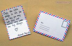Free printable mini airmail stationery (envelope + sheet) from Postfabriek.