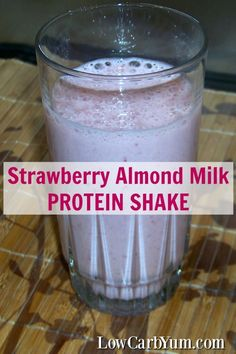 I used frozen berries for this strawberry almond milk protein shake, but any other frozen or fresh fruits can be used. Mix it up and add in what you like.