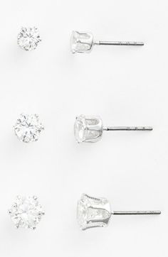 Anne Klein Multi Size Crystal Stud Earrings (Set of 3) available at #Nordstrom