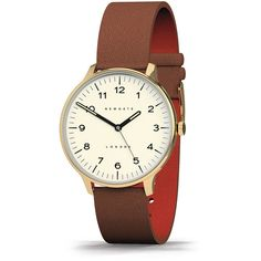 Newgate Clocks Blip Watch - Brown Leather Strap - White ($249) ❤ liked on Polyvore featuring jewelry, watches, brown, brown strap watches, vintage wristwatches, leather-strap watches, water resistant watches and white dial watches