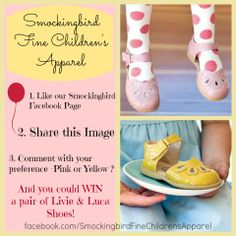 Like-share-win on Facebook to win a gorgeous pair of Livie and Luca shoes  https://www.facebook.com/SmockingbirdFineChildrensApparel