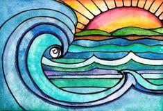 Wild Surf 8 x 10 sunset sun art print painting beach waves ocean art print water beach painting waves print sunrise art Art Floral, Floral Design, Art Soleil, Art Surf, Arte Elemental, Art Vampire, Vampire Knight, Wal Art, Sunset Art