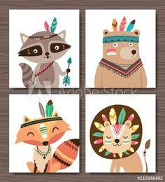 Set of cartoon woodland animals. Raccoon, bear, fox and lion.