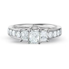 I like the three diamond look. Certified Radiant Cut Diamond Three Stone Ring in White Gold - View All Rings - Zales Radiant Engagement Rings, Engagement Rings Sale, Perfect Engagement Ring, Zales Jewelry, Gold Rings Jewelry, Jewellery, Radiant Cut Diamond, Diamond Cuts, Diamond Rings