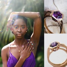Khadijah Shakir in supremely elegant #amethyst jumpsuit from FH Bermuda. Amethyst is the birthstone for February. This rose gold and amethyst #hexagon beauty is accented with minky diamonds. #Verdmont #bermudanationaltrust  Photography: Meredith Andrews, MUA: Zaurie Smith @ Red Doors, Hair: Stylz by Traci Nails: Tricia @ Saphora Hair & Nail Salon, Jumpsuit: FH bermuda #naturalbeauty #naturalhair #yellowdiamonds #diamonds #birthstone #rosegold #faceted #melanieeddyjewellery #geometry #jewellery Meredith Andrews, Red Doors, Hair And Nail Salon, Geometry, Birthstones, Ted, Natural Hair Styles, February, Amethyst