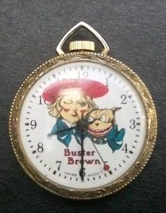 Vintage-BUSTER-BROWN-POCKET-WATCH-Swiss-Made-by-Sindaco-LTD