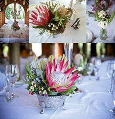 Making Wedding Planning Easy Protea Wedding, Floral Wedding, Wedding Bouquets, Wedding Flowers, Wedding Table Decorations, Flower Decorations, Wedding Centerpieces, Protea Centerpiece, Wedding Book