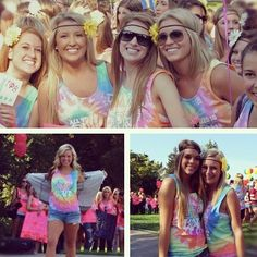 Love the tie dye bid day shirts, love the flowers in their hair