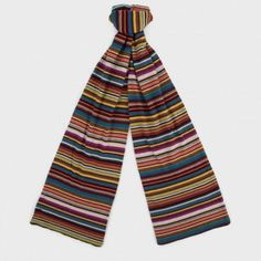 Paul Smith brown signature stripe wool and cashmere-blend scarf with a Paul Smith signature label. Made in Italy. Modern Fashion, Mens Fashion, S Signature, Striped Scarves, Men's Scarves, Paul Smith, Wool Blend, Cashmere, Pajama Pants
