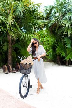 Biking Through Playa del Carmen - Faithfull the Brand dress // Kayu tote Vintage belt // Valentino sandals Monday, April 4, 2016