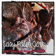 Easy Paleo Jerky - grain-free, soy-free, sugar-free and friendly Lots of good snack recipes Whole 30 Snacks, Whole 30 Recipes, Free Paleo Recipes, Paleo Meals, Fast Recipes, Snack Recipes, Paleo Beef Jerky, Paleo Grubs, Fast Metabolism Diet