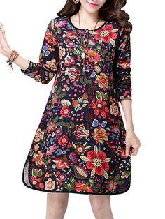 Women Vintage Floral Printed Side Split Long Sleeve A-Line Dresses