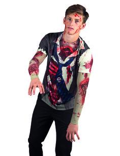 T-Shirt zombie adulte Halloween : Ce tee-shirt zombie pour adulte représente un étudiant en uniforme poignardé et les entrailles béantes (Lunettes non incluses). Il est imprimé des deux...