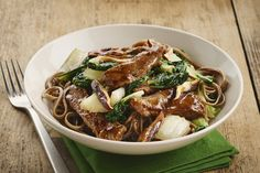 Beef steak strips pair up with mushrooms and bok choy in this quick and delicious stir-fry that gets the perfect balance of flavour from the balsamic vinaigrette dressing. Stir Fry Dishes, Stir Fry Recipes, Beef Recipes, Main Dishes, Recipies, Kraft Recipes, Easy Beef And Broccoli, Beef Strips, Beef Stir Fry