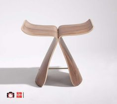Modern classic small size wooden stool Sori Yanagi butterfly foot stool butterfly chair famous bent wood stool