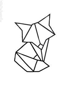 Geometric Fox by WillaTheFennecFox Origami Tattoo, Geometric Tatto, Geometric Fox, Geometric Drawing, Mini Tattoos, Small Tattoos, Fuchs Tattoo, Fox Drawing, Dragon Tattoo For Women