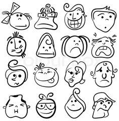 Vector of People face cartoon vector icon