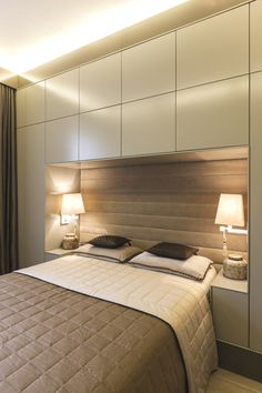 Luxury-London-Apartment-Adelto-15 Small Master Bedroom, Bedroom Bed, Bedroom Apartment, Bedroom Decor, Apartment Therapy, Bedroom Furniture, Furniture Ideas, Bedroom Lighting, Small Bedroom With Wardrobe