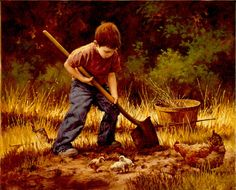 """Digging For Dinner"", by American artist - Jim Daly, (1940 - ), 20"" x 16"", Oil, SOLD."