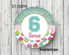 Cupcake Plate, Birthday Plate, Personalized Melamine Plate, Personalized Birthday Plate, Girl Plate, Cupcake with sprinkles plate, birthday by DOUGHTENDESIGNS on Etsy