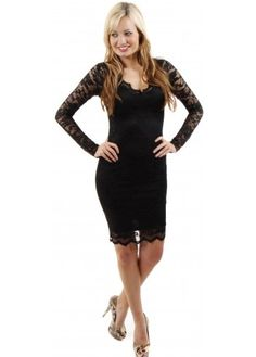 Jessica Wright Kate Black On Black Long Sleeve Lace Dress