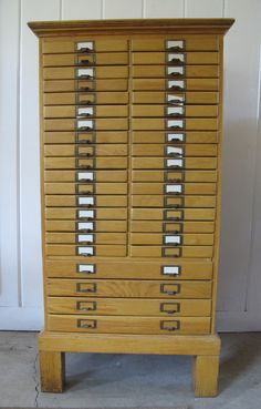 Vintage Industrial Solid Wood Library Index Cabinet Card Catalog by PortlandRevibe on Etsy