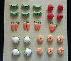 28 Fondant Vegetables Cupcake Toppers - Vegetables