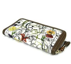 Gucci Floral Canvas Leather Zip Around Wallet Travel Clutch