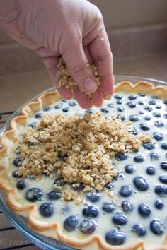 Blueberry Crumble Cream Pie! A combination of a blueberry crumble. cake and pie!!