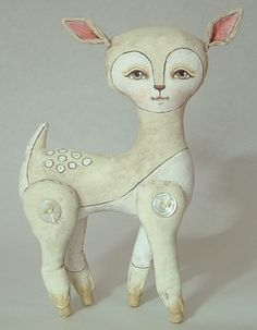 Felicity-- White Deer-- Contemporary Folk Art