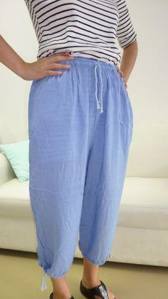 Light Blue Fair Trade 100% cotton  Yoga Massage 3/4 Pants features include 2 pockets, elastic waist with drawstring, drawstring legs. $14.96 http://www.mysterybuddha.com
