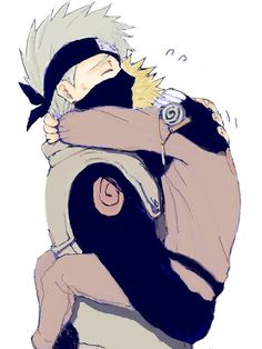 Naruto and Kakashi---Kakashi comforting his favorite blond student! :D