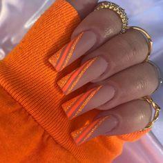 Orange Nail Designs, Cute Acrylic Nail Designs, Nail Art Designs, Glam Nails, Dope Nails, Sns Nails, Sparkly Nails, Glitter Nails, Bandana Nails