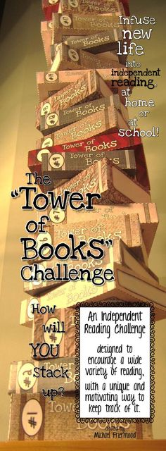 "Infuse new life into students' independent reading, at school or at home, with the ""Tower of Books"" Challenge! Perfect for a summer reading challenge or an alternative to the stuck-in-a-rut reading log assignment."