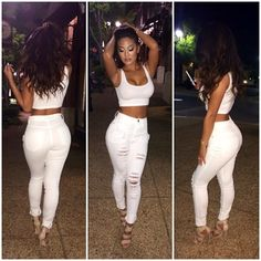 Spring Outfit - All White Crop Top and Ripped Jeans - Nude Sandal Heels
