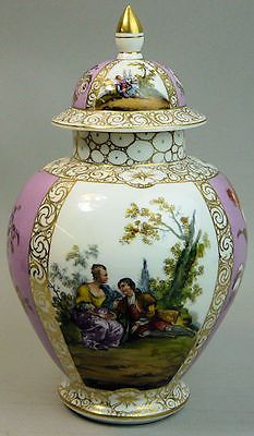 3 of 7: ANTIQUE DRESDEN HELENA WOLFSOHN FINELY HAND PAINTED PORCELAIN VASE & COVER