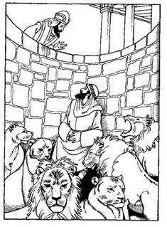 daniel y el foso de los leones para colorear