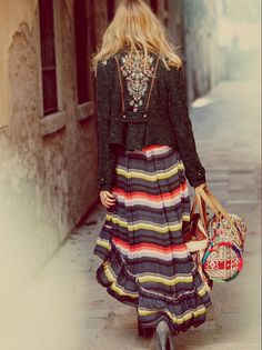 love the jacket with the long skirt in a solid color... NELLE