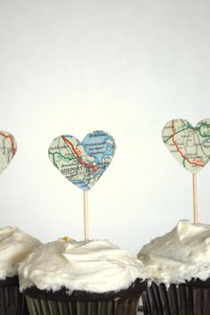 Vintage Map Heart Cupcake Toppers by thePathLessTraveled on Etsy, $3.72