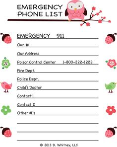 emergency phone list template for kids - Google Search