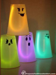 glow sticks and translucent plastic cups