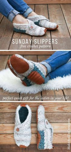 This free crochet slippers pattern with leather soles makes the perfect stylish and functional gift for a friend, coworker, teacher--or yourself! via projects for women Stylish + Modern: Free Crochet Slippers Pattern for Women Crochet Diy, Crochet Socks, Crochet Clothes, Crochet Stitches, Knitting Socks, How To Crochet Slippers, Felted Slippers, Crochet Slipper Boots, Knit Socks