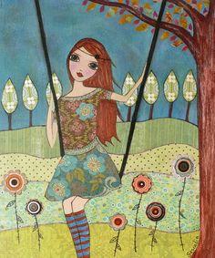 Folk Art Girl Painting Art Print on Wood Whimsical Art. $35.00, via Etsy.