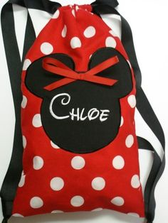 Disney String Drawstring Backpack for Toddlers Minnie Mouse Applique Pre-School or Dance Bag