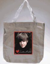 "Justin Bieber Heart Canvas Mini Tote Bag (8"" X 8.75"")"