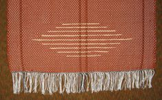 Woven Rag Rug  One 1  Rust Color with Yellow by n2Imaginations (Home & Living, Floor & Rugs, floor, bath, bed, room, kitchen, hall, home decor, red, diamond, warp, fringe, white, black)