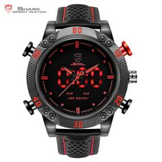 Cheap relogio brand, Buy Quality relogio relogios directly from China relogio digital led Suppliers: Kitefin Shark Sport Watch Brand Mens Military Quartz Red LED Hour Analog Digital Date Alarm Leather Wrist Watches Relogio Shark Watches, Cool Watches, Watches For Men, Wrist Watches, Men's Watches, Modern Watches, Fashion Watches, Jewelry Watches, Men's Fashion