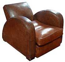 French Art Deco Streamline Leather Club Chairs Speed Style Arms